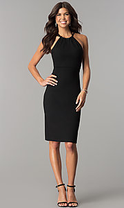 Image of knee-length high-neck open-back homecoming dress. Style: AL-HL-110 Detail Image 1