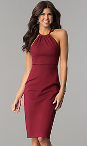 Image of knee-length high-neck open-back homecoming dress. Style: AL-HL-110 Front Image