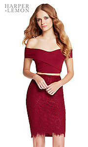 Short Off-the-Shoulder Two-Piece Homecoming Dress