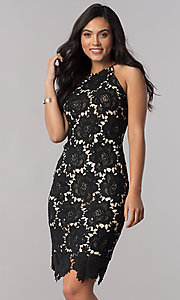 Knee-Length Black Lace Party Dress with Short Lining