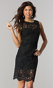 Short Black Sheer-Lace Party Dress with Back Cut Out