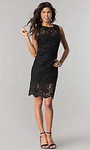 Image of short black sheer-lace party dress with back cut out. Style: JTM-JMD6639-B Detail Image 1