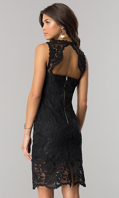 Image of short black sheer-lace party dress with back cut out. Style: JTM-JMD6639-B Back Image