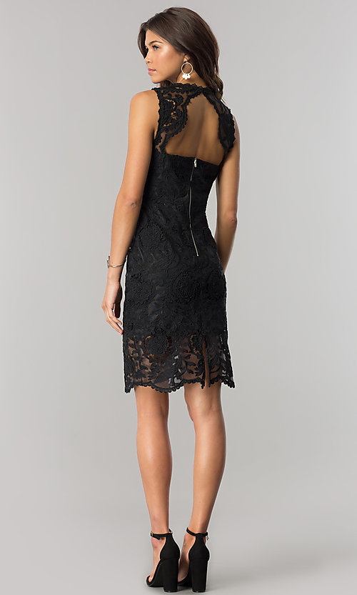 Image of short black sheer-lace party dress with back cut out. Style: JTM-JMD6639-B Detail Image 2