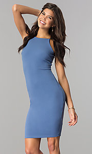 Image of short high-neck bodycon party dress in denim blue. Style: JTM-JD7900 Front Image