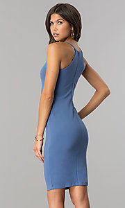 Image of short high-neck bodycon party dress in denim blue. Style: JTM-JD7900 Back Image