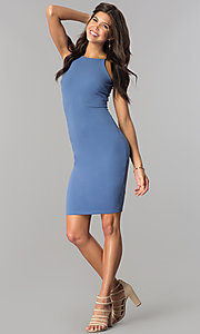 Image of short high-neck bodycon party dress in denim blue. Style: JTM-JD7900 Detail Image 1