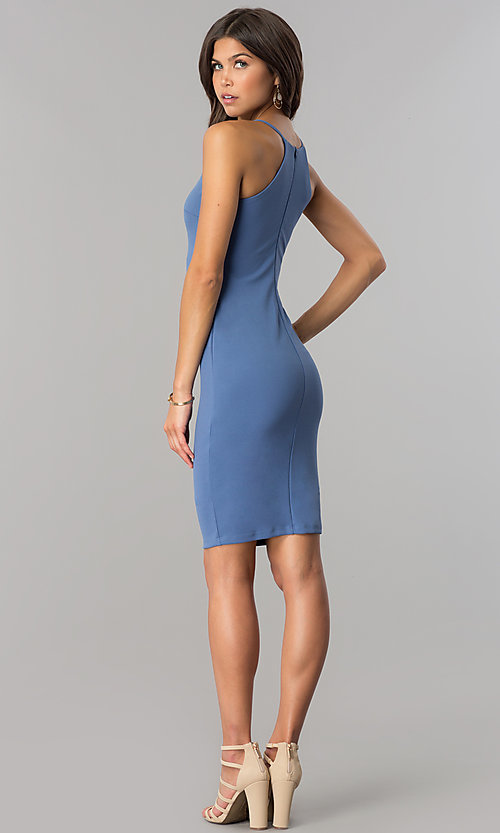Image of short high-neck bodycon party dress in denim blue. Style: JTM-JD7900 Detail Image 2