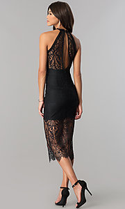 Image of knee-length black lace party dress with back cut out. Style: JTM-JMD6477 Back Image