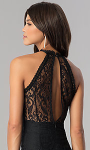 Image of knee-length black lace party dress with back cut out. Style: JTM-JMD6477 Detail Image 2