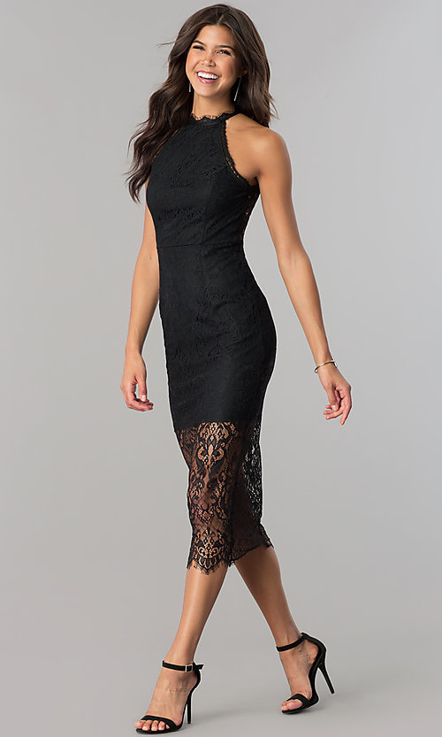 Image of knee-length black lace party dress with back cut out. Style: JTM-JMD6477 Front Image