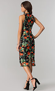Image of midi black party dress with floral embroidery. Style: JTM-JD7908 Detail Image 2