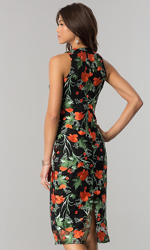 Image of midi black party dress with floral embroidery. Style: JTM-JD7908 Back Image