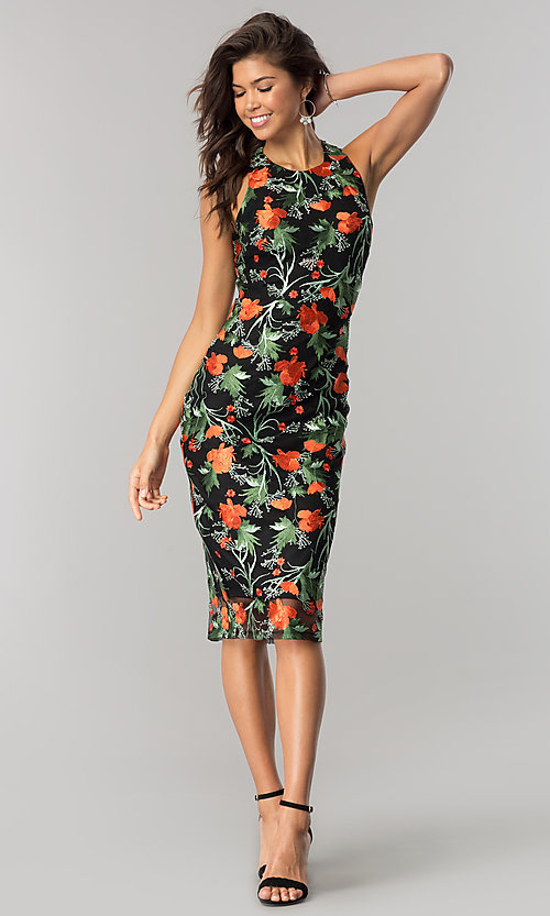Image of midi black party dress with floral embroidery. Style: JTM-JD7908 Detail Image 1