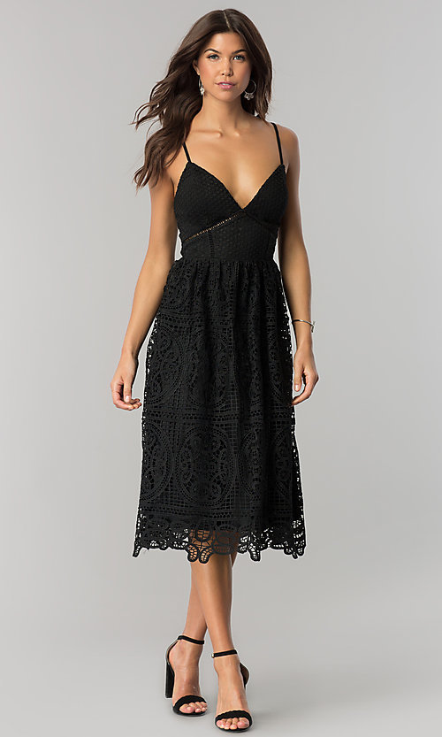 Image of midi-length black v-neck lace party dress. Style: JTM-JMD7748 Front Image