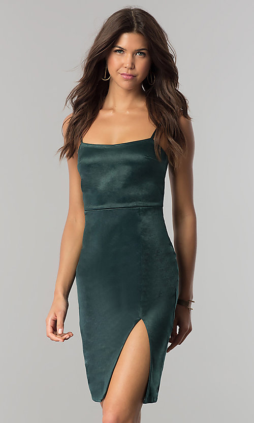 Image of short hunter green satin party dress with side slit. Style: JTM-JMD7394 Front Image