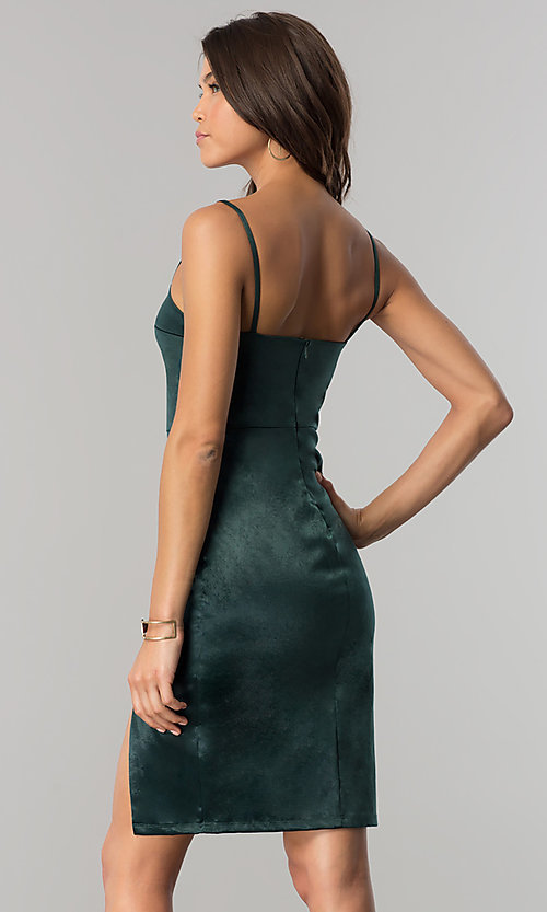Image of short hunter green satin party dress with side slit. Style: JTM-JMD7394 Back Image