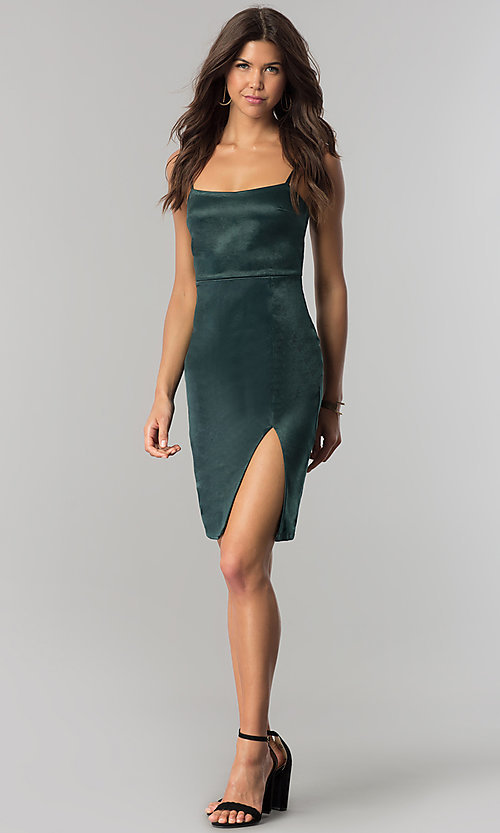 Image of short hunter green satin party dress with side slit. Style: JTM-JMD7394 Detail Image 1