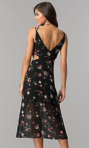 Image of v-neck black midi wedding-guest dress with print. Style: JTM-JD8005 Back Image