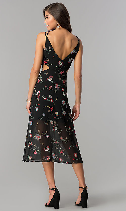 Image of v-neck black midi wedding-guest dress with print. Style: JTM-JD8005 Detail Image 3