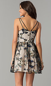 Image of short black wedding-guest party dress with sequins. Style: EM-FMR-3374-013 Back Image