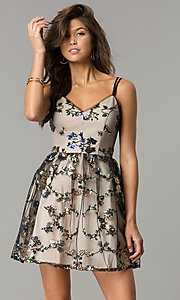Image of short black wedding-guest party dress with sequins. Style: EM-FMR-3374-013 Front Image