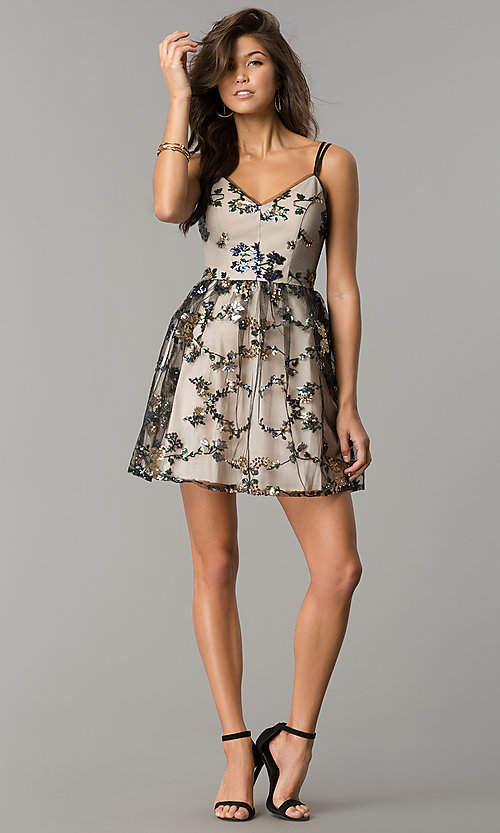 Image of short black wedding-guest party dress with sequins. Style: EM-FMR-3374-013 Detail Image 2