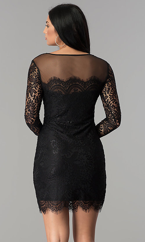 Image of long-sleeve short lace party dress with scallops. Style: JU-10410 Back Image