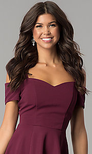 Image of burgundy cold-shoulder short homecoming dress. Style: EM-FEE-2109-610 Detail Image 1