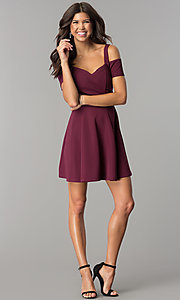 Image of burgundy cold-shoulder short homecoming dress. Style: EM-FEE-2109-610 Detail Image 2