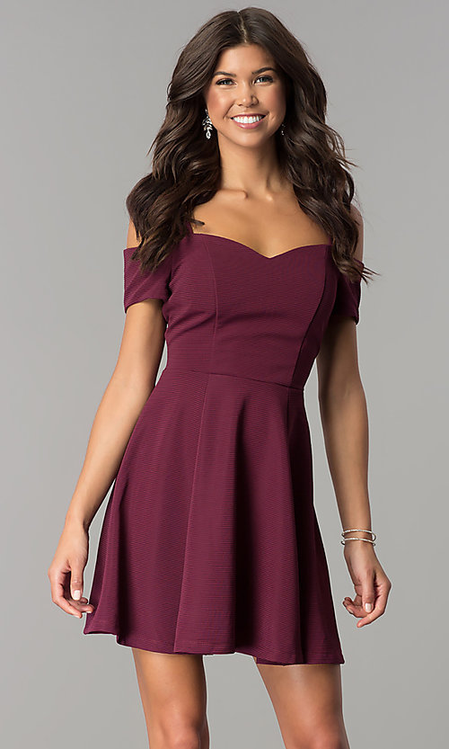 Image of burgundy cold-shoulder short homecoming dress. Style: EM-FEE-2109-610 Front Image