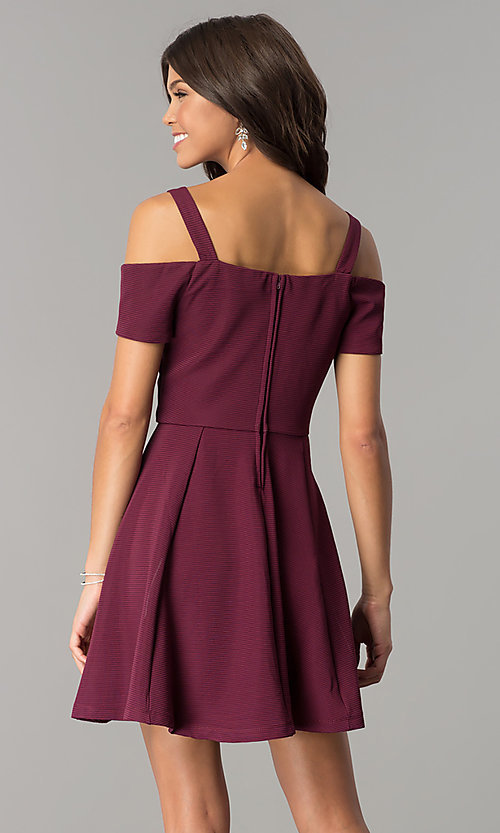 Image of burgundy cold-shoulder short homecoming dress. Style: EM-FEE-2109-610 Back Image