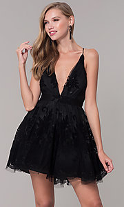 Image of tulle floral-print v-neck short party dress.  Style: LUX-LD4075 Detail Image 1