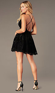 Image of tulle floral-print v-neck short party dress.  Style: LUX-LD4075 Back Image