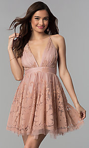 Image of tulle floral-print v-neck short party dress.  Style: LUX-LD4075 Front Image