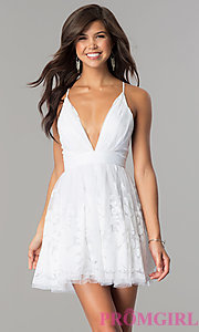 Short Deep V-Neck Party Dress