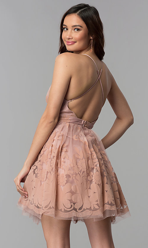 Image of tulle floral-print v-neck short party dress.  Style: LUX-LD4075 Detail Image 3