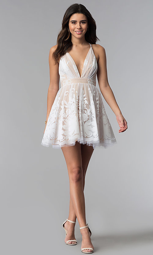 Image of white floral-print v-neck short party dress.  Style: LUX-LD4075 Detail Image 2
