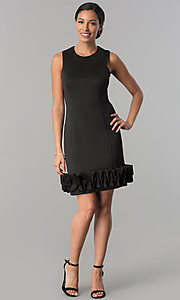 Image of Ignite Evenings short party dress with ruffled hem. Style: IT-116436 Detail Image 1