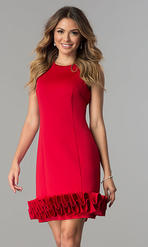 Image of Ignite Evenings short party dress with ruffled hem. Style: IT-116436 Detail Image 2