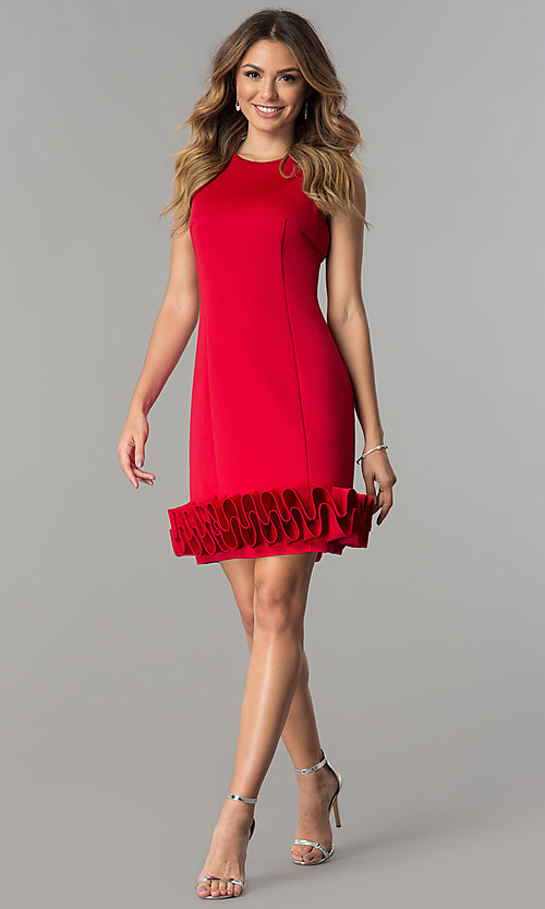 Image of Ignite Evenings short party dress with ruffled hem. Style: IT-116436 Detail Image 3