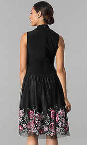 Image of black drop-waist knee-length v-neck party dress. Style: IT-110017 Back Image