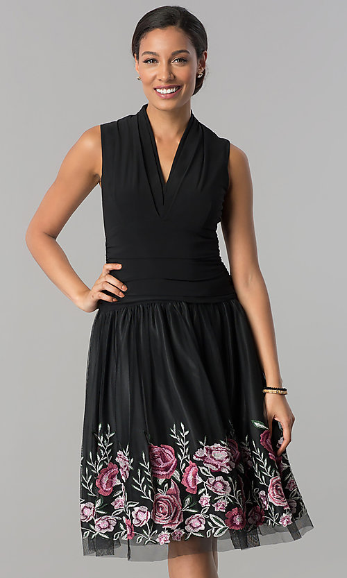 Image of black drop-waist knee-length v-neck party dress. Style: IT-110017 Front Image