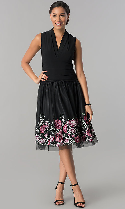 Image of black drop-waist knee-length v-neck party dress. Style: IT-110017 Detail Image 1