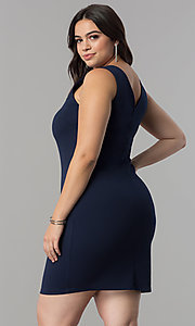 Image of plus-size navy blue short party dress with embroidery. Style: SY-XD-22195A Back Image