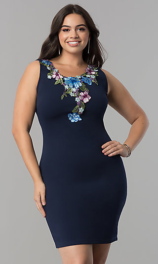 Plus-Size Navy Blue Short Party Dress with Embroidery