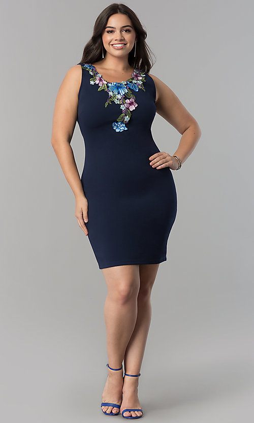 Image of plus-size navy blue short party dress with embroidery. Style: SY-XD-22195A Detail Image 1