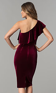 Image of knee-length wine red velvet one-shoulder party dress. Style: IT-111237 Back Image