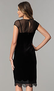 Image of midi short black velvet wedding-guest party dress. Style: IT-111257 Back Image