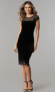 Image of midi short black velvet wedding-guest party dress. Style: IT-111257 Detail Image 2